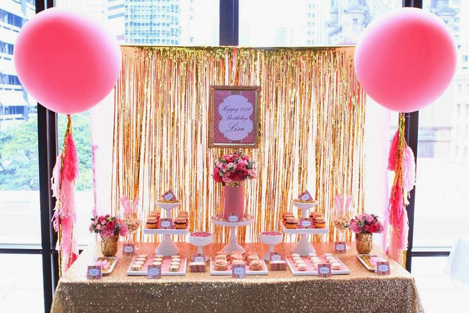 pink and gold 21st birthday by perfectly sweet the little big