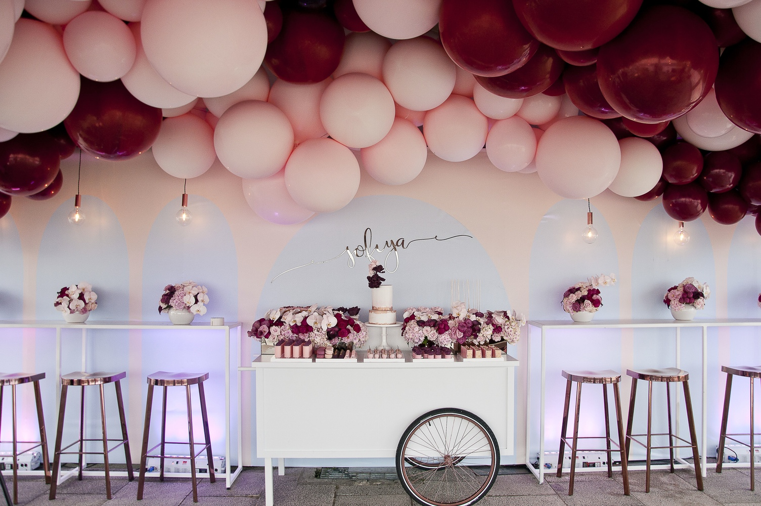 Burgundy and Pink with hints of gold / This Stunning Balloon Themed ...